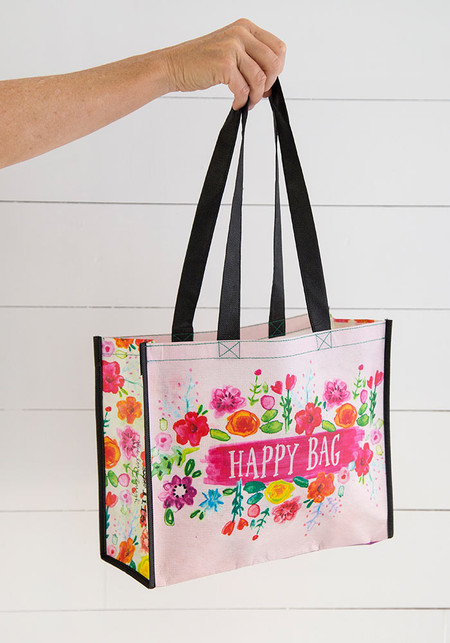 Make your shopping fun with this happy shopping with this reusable bag features nylon webbed handles  Sentiment: Happy Bag  Composition: rPET, made with 80% recycled plastic water bottles Dimensions: 12.5in L x 5in W x 10.25in H, 11in handle drop