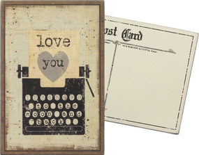 "A rustic-inspired wooden postcard featuring distressed ""Love You - To The Moon And Back"" sentiment and typewriter and heart designs. The perfect piece of unique snail mail; additional postage required.  Size:  4"" x 6"""