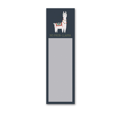 "Add personality and character to any space with this magnetic paper list notepad, featuring a quilted llama design with a playful ""No Prob-Llama"" sentiment. Complements well with coordinating styles for a cohesive collection. Contains 60 pages with sticky back top edges and strong back magnet.  Size:  2.75"" x 9.50"""