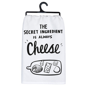 "Complementary to a variety of kitchen décor styles, a black and white cotton dish towel featuring a ""The Secret Ingredient Is Always Cheese"" sentiment with cheese board design.  Machine-washable.   28"" x 28"""