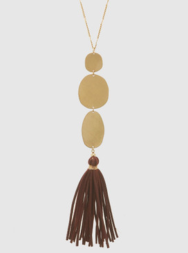 triple gold shape long tassel necklace