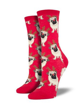 What could be cuter than a pug? A pug wearing antlers, of course. These pups are ready for the holidays, or a festive costume party! Slip on these adorable socks and start spreading holiday cheer.  Sock size 9-11 fits U.S. women's shoe size 5-10.5 Fiber Content: 63% Cotton, 34% Nylon, 3% Spandex