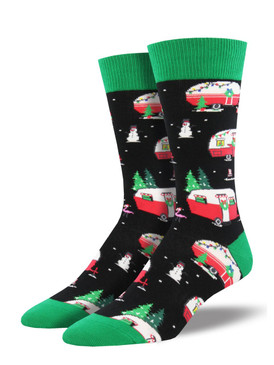Socksmith wants to make you a happy camper this holiday season with our Christmas Campers socks! Nestle into this nostalgic style that evokes wintertime festivity. These holiday socks bring a wandering spirit to your vacation wardrobe.    Sock size 10-13 fits U.S. men's shoe size 7-12.5 Fiber Content: 70% Cotton, 27% Nylon, 3% Spandex