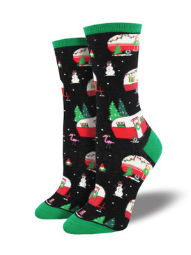 Roll on into these Christmas socks for a festive touch to your holiday wardrobe. Red and white trailers, all decked out in string lights and wreaths, set the perfect scene on this wintertime background. Whether rolling through the Tetons or Death Valley, these fun socks bring adventure to your footwear.  Sock size 9-11 fits U.S. women's shoe size 5-10.5 Fiber Content: 63% Cotton, 34% Nylon, 3% Spandex