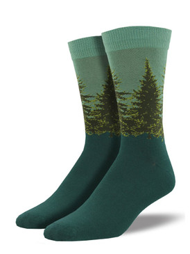 Perfect for the outdoor enthusiast, surround yourself in the evergreen wilderness by wearing these socks. These socks are the perfect complement to your hiking attire.  Sock size 10-13 fits U.S. men's shoe size 7-12.5 Fiber Content: 66% Rayon From Bamboo, 32% Nylon, 2% Spandex