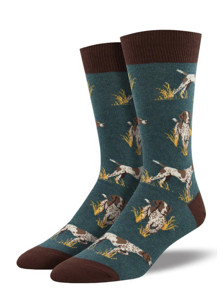 The hunt for great dog socks is over. Point your toes into our Pointer socks for the fashion kill. These energetic canines are ready to work - on making your outfit fantastic.   Sock size 10-13 fits U.S. men's shoe size 7-12.5 Fiber Content: 70% Cotton, 27% Nylon, 3% Spandex