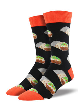 Roll up your sock game nice and tight with burrito socks! These delicious food socks show off your love of this popular delight of Mexican cuisine. Whether visiting your favorite taqueria or just strolling down the street, these fun socks add a delicious touch to your style.   Sock size 10-13 fits U.S. men's shoe size 7-12.5 Fiber Content: 70% Cotton, 27% Nylon, 3% Spandex