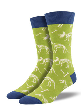 Dino bones socks - can you dig it? Yes you can! Bury your toes in these awesome fossil socks! Indiana Jones never had it so good, but you can. Triceratops and Stegosaurus are just a few of the stars of this show.  Sock size 10-13 fits U.S. men's shoe size 7-12.5 Fiber Content: 70% Cotton, 27% Nylon, 3% Spandex