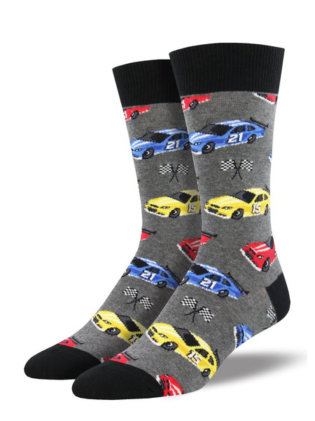 Sometimes trying to bring your sock style together can make you feel like you're spinning your wheels. Race car socks are where the rubber meets the road! Jump into our Pit Stop socks and take the lead when it comes to sock swag.   Sock size 10-13 fits U.S. men's shoe size 7-12.5 Fiber Content: 70% Cotton, 27% Nylon, 3% Spandex