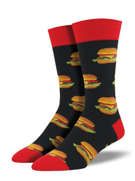 Sun's out, buns out! What's a summer BBQ without burgers! Wear these burger socks to your next neighborhood block party, and watch the Joneses drool with envy. You can wear these mouth-watering socks on all your summer adventures. You might want to bring a few extra pairs along and make new friends wherever you go.    Sock size 10-13 fits U.S. men's shoe size 7-12.5 Fiber Content: 70% Cotton, 27% Nylon, 3% Spandex