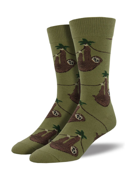 Are you living the slow and relaxing life, like a sloth? Then these socks are for you! Even when you're in a rush, let these sloth socks help slow you down to a manageable pace.  Sock size 10-13 fits U.S. men's shoe size 7-12.5 Fiber Content: 70% Cotton, 27% Nylon, 3% Spandex