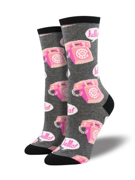 "Ring, ring, it's your feet calling with a request for awesome socks! Roll back time with this nostalgic choice. Say ""hello"" to fun fashion and ""goodbye"" to boring socks!  Sock size 9-11 fits U.S. women's shoe size 5-10.5 Fiber Content: 63% Cotton, 34% Nylon, 3% Spandex"