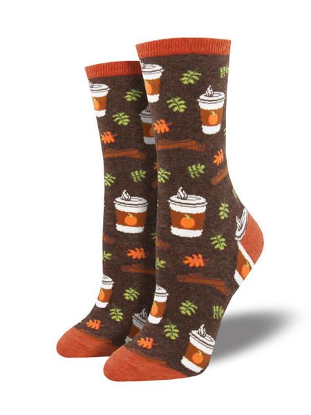 """There's a reason this flavor combination is so popular. Nothing says, """"fall is here"""" like pumpkin spice! Roll on these yummy coffee socks and start frollicking in the leaf piles. You can enjoy the essence of autumn any time of year with these cozy pumpkin spice socks!  Sock size 9-11 fits U.S. women's shoe size 5-10.5 Fiber Content: 63% Cotton, 34% Nylon, 3% Spandex"""