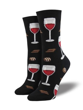 Anytime is a great time to wine down - at least when it comes to your sock game! Pour your toes into these chocolate and wine socks, and just try to resist those feelings of relaxation and enjoyment. The only thing missing is a warm bath… Although wearing wet socks might not be your thing, we definitely won't judge you if it is!   Sock size 9-11 fits U.S. women's shoe size 5-10.5 Fiber Content: 63% Cotton, 34% Nylon, 3% Spandex