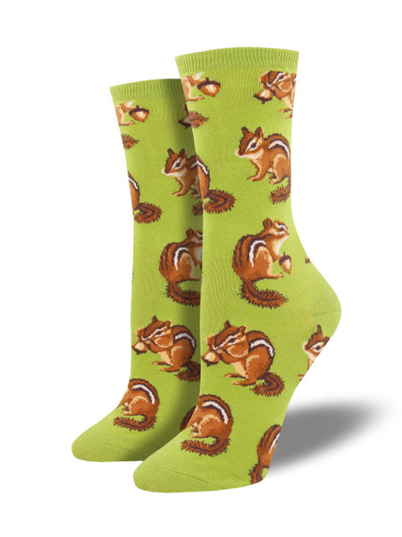 Chipmunks are omnivores and generally not very discriminating about their diet. Maybe that's why their cheeks are usually full! Celebrate the smallest member of the squirrel family with our chipmunk socks and get cheeky with it!  Sock size 9-11 fits U.S. women's shoe size 5-10.5 Fiber Content: 63% Cotton, 34% Nylon, 3% Spandex