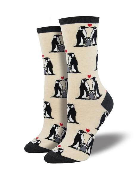 Don't subject your feet to a catastrophic molt. Slip on these adorable penguin love socks instead! Featuring loving penguin families, these animal socks were made for cuddling. Show your love of Antarctica, while keeping your toes from getting arctic with these penguin socks.  Sock size 9-11 fits U.S. women's shoe size 5-10.5 Fiber Content: 63% Cotton, 34% Nylon, 3% Spandex
