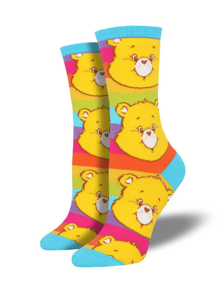 Funshine Bear makes these fun socks shine! Put some happiness in your step, when you step out in Care Bears socks. Colorful and adorable, these rainbow socks are ready to take on the day. Have you seen the rest of our Care Bears sock collection? We think, just one pair isn't enough!  Sock size 9-11 fits U.S. women's shoe size 5-10.5 Fiber Content: 63% Cotton, 34% Nylon, 3% Spandex