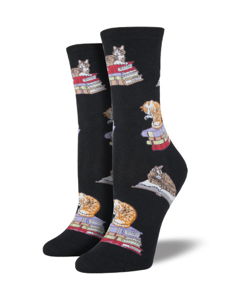 What could be better for a lazy Sunday? A stack of books and a furry companion to curl up with. Featuring cats sitting on piles of books, these socks are also perfect for your next trip to the local bookstore!  Sock size 9-11 fits U.S. women's shoe size 5-10.5 Fiber Content: 63% Cotton, 34% Nylon, 3% Spandex