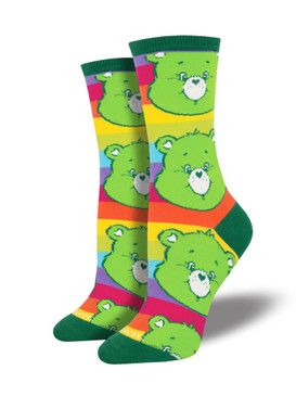 Good Luck Bear wants to bring good looks to your sock game. With a wink and a smile, this fortunate furry is here to accompany you on your day's adventures. Care Bears socks are an excellent start to your morning off right.  Sock size 9-11 fits U.S. women's shoe size 5-10.5 Fiber Content: 63% Cotton, 34% Nylon, 3% Spandex