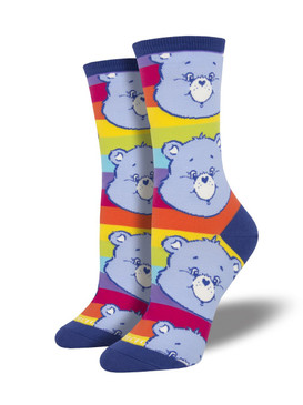Cute socks are a great way to turn that frown upside-down. It's tough to stay grumpy when you're wearing adorable Grumpy Bear socks. The face of this perpetually glum little cutie can't help but make us smile on these rainbow socks. Walk away that grouchy mood in these fun socks!  Sock size 9-11 fits U.S. women's shoe size 5-10.5 Fiber Content: 63% Cotton, 34% Nylon, 3% Spandex