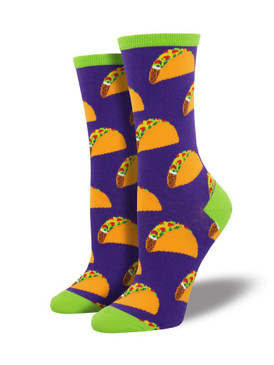 Every day is Taco Tuesday with these socks, featuring a pattern of tasty tacos. These socks are sure to make your next Taco Tuesday even more enjoyable.  Sock size 9-11 fits U.S. women's shoe size 5-10.5 Fiber Content: 63% Cotton, 34% Nylon, 3% Spandex