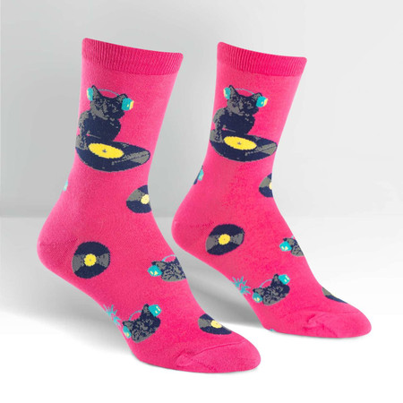 Have you heard the latest craze? Kitty DJs! Now that the cat's out of the bag, we can tell you that all the best joints with the coolest cats have cats scratching (all that practice with the scratch posts is finally paying off). Show you're in the know by wearing these bright DJ Kitty socks the next time you hit a hot club. 53% Cotton, 44% Polyester, 3% Spandex. Made in Korea.Our threads are certified by OEKO-TEX® Standard 100, which means we leave out harmful chemicals to keep your skin safe and happy. Approximately fits women's shoe size 5-10.