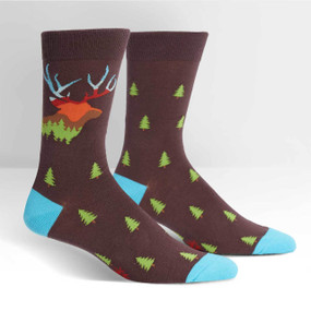 This stag silhouette is filled with the beautiful landscape that dew-covered camp mornings are made of! The nature-filled sock just makes you want to turn off your computer and walk into the woods, never coming back again. Well, for the days you can't just run into the wild, wear these crew socks to work. And hey, you can wear them in the great outdoors too; the deer will appreciate the socks just as much as your coworkers. 63% Cotton, 34% Polyester, 3% Spandex. Made in Korea. Our threads are certified by OEKO-TEX® Standard 100, which means we leave out harmful chemicals to keep your skin safe and happy. Approximately fits men's shoe size 7-13