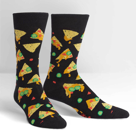 This men's black crew sock features corn chips, melted cheese, jalapeño, diced tomatoes...getting hungry yet? You know what we're describing: NACHOS! One of the greatest snack foods ever invented. This food is versatile and so are these socks—wear them to celebrate a the big game or to spice up your favorite suit ensemble. 55% Cotton, 42% Polyester, 3% Spandex. Made in Korea. Our threads are certified by OEKO-TEX® Standard 100, which means we leave out harmful chemicals to keep your skin safe and happy. Approximately fits men's shoe size 7-13
