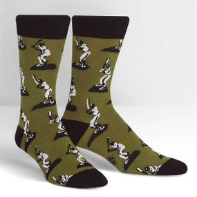 Root, root, root for the home toys! These guys look like the baseball figurines from our youth. Do you remember the first baseball game you went to? The first baseball card you got or the first time you played catch? This crew sock is great for bringing back those fond memories or creating some new traditions. 58% Cotton, 40% Polyester, 2% Spandex. Made in Korea. Our threads are certified by OEKO-TEX® Standard 100, which means we leave out harmful chemicals to keep your skin safe and happy. Approximately fits men's shoe size 7-13.