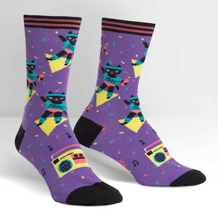 Break out the sweatbands and the 80s music, it's time to get physical! Invite your purr-friends over, slip on these purple crew socks and get to werk. If you've never done a cat workout before, you might be surprised by some of the routine: Chase the String, Bat the Mouse, Lunge After the Laser. And once your workout is done, don't forget to lap up some water and take a quick catnap. 59% Cotton, 39% Polyester, 2% Spandex. Made in Korea. Our threads are certified by OEKO-TEX® Standard 100, which means we leave out harmful chemicals to keep your skin safe and happy. Approximately fits women's shoe size 5-10 and men's shoe size 3.5-8.5.