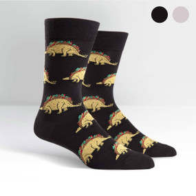 Tacos, the greatest food of all time, are now combined with stegosaurus, a mighty dinosaur, to create the ultimate sock. Tacosaurus: delicious and powerful. Now in two color options; black and grey. 50% Cotton, 48% Polyester, 2% Spandex. Made in Korea. Our threads are certified by OEKO-TEX® Standard 100, which means we leave out harmful chemicals to keep your skin safe and happy. Approximately fits men's shoe size 7-13. Artwork By Alex DeSpain