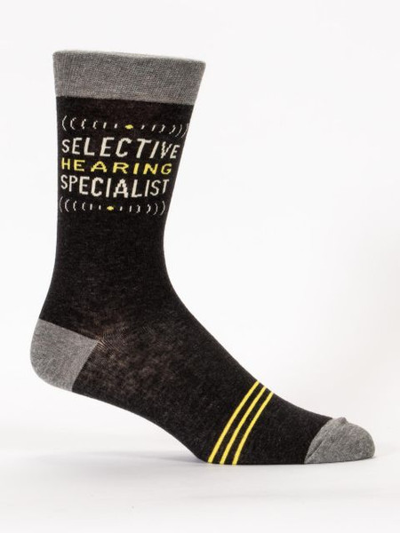 "The only thing that sets you and me apart is that you're better at not listening.  Men's shoe size 7-12. 65% combed cotton; 32% nylon; 3% spandex.  PLEASE NOTE: This sock features panoramic art - awesome from every angle. There's no ""right and left."" The sassy phrase falls on the outside of your right leg, and the inside of your left."