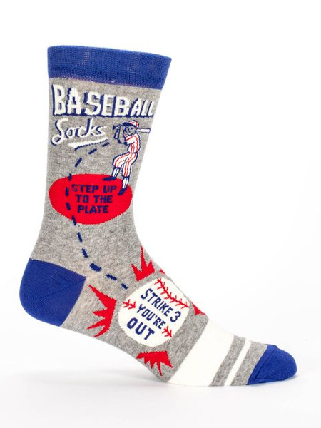 "If there's one thing I know about baseball, it's that baseball season is the longest season of all the sports seasons. At least it feels like it. What I'm trying to say is that there will be plenty of opportunities to wear these socks.  Men's shoe size 7-12. 57% combed cotton; 40% nylon; 3% spandex.  PLEASE NOTE: This sock features panoramic art - awesome from every angle. There's no ""right and left."" The sassy phrase falls on the outside of your right leg, and the inside of your left."