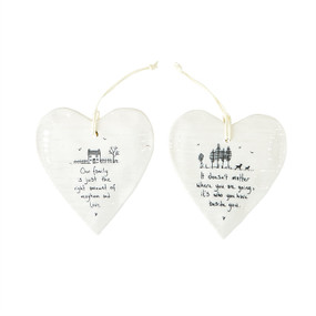 hanging heart picture porcelain ornament