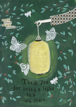 "light in the dark | thank you card Embrace the magic of small moments with Curly Girl! Colorful collage art and hand-stamped wisdom make every piece a work of art that happens to be a super handy, post-perfect greeting card!   Our Light in a Dark Place Card says: ""Thank you for being a light in a dark place.""Small words: ""grace is delivered to us in kindnesses Size: ""A6 Card (4 1/2″ x 6 1/4″ ) Blank Inside White envelope"