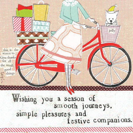 """Embrace the magic of small moments with Curly Girl's Holiday selection! Colorful collage art, hand-stamped wisdom and a touch of glitter make every piece a work of art that's perfect for everyone on your list! """"Wishing you a season of smooth journeys, simple pleasures, and festive companions"""" Small words: """"this is the season to give thanks for all the small good things"""" 5.5"""" Square Card* Blank Inside *Envelope color may vary *Square cards may require additional postage"""