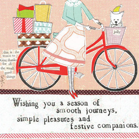 "Embrace the magic of small moments with Curly Girl's Holiday selection! Colorful collage art, hand-stamped wisdom and a touch of glitter make every piece a work of art that's perfect for everyone on your list! ""Wishing you a season of smooth journeys, simple pleasures, and festive companions"" Small words: ""this is the season to give thanks for all the small good things"" 5.5"" Square Card* Blank Inside *Envelope color may vary *Square cards may require additional postage"