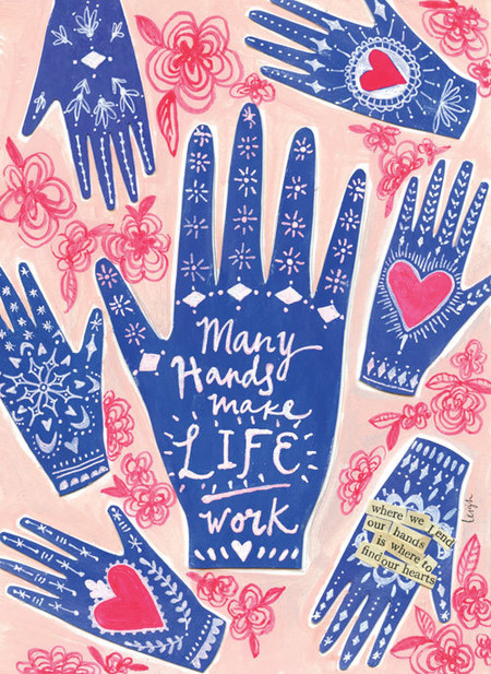 """Dress up your fridge or office with a cute Curly Girl magnet (or ten)! Collect them, trade them, gift them, send them, share them, love them! """"Many hands make life work"""" Small words: """"where we lend our hands is where to find our hearts"""" Size: 2.75″ x 3.75″ Heavy duty Individually poly-wrapped"""