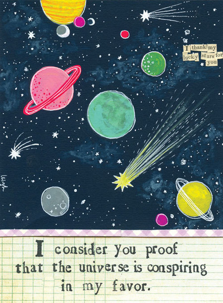 "Dress up your fridge or office with a cute Curly Girl magnet (or ten)! Collect them, trade them, gift them, send them, share them, love them! ""I consider you proof that the universe is conspiring in my favor."" Small words: ""I thank my lucky stars for you"" Size: 2.75″ x 3.75″ Heavy duty Individually poly-wrapped"