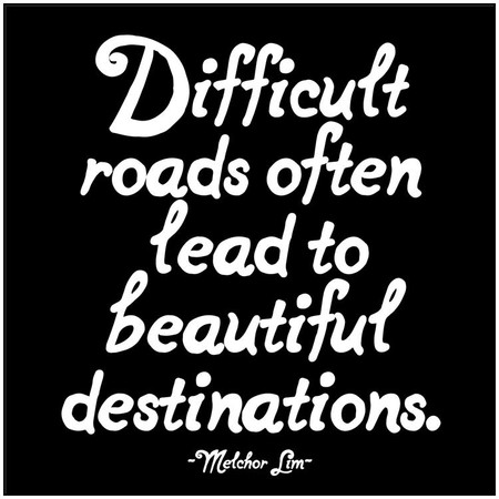 "quotation difficult roads often lead to beautiful destinations. -melchor lim printed in the usa on recycled paper. 5"" square. blank inside."