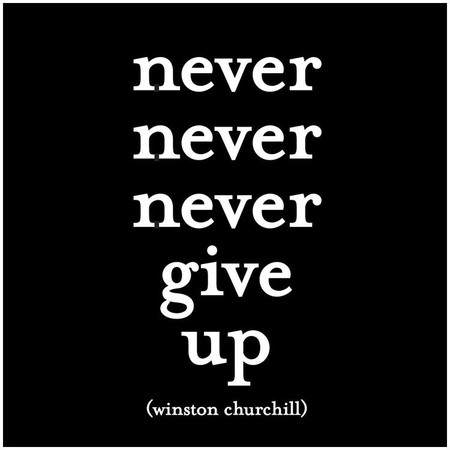"""quotation never never never give up -winston churchill printed in the usa on recycled paper. 5"""" square. blank inside."""