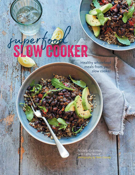 "Healthy wholefood meals from your slow cooker By Nicola Graimes and Cathy Seward  Over 60 recipes for delicious, home-cooked, nourishing meals from your electric slow cooker. For anyone who loves good food but has little time to spend cooking, an electric slow cooker (crockpot) can fit perfectly into a busy lifestyle. They can be used day or night, and you don't have to stay at home to keep an eye on your cooking while you produce hearty, healthy food for all the family. The recipes in this book mainly use sustaining grains, beans, and legumes, along with ""superfood"" vegetable ingredients and high protein foods including fish, poultry, and meat. The addition of fresh herbs and super spices such as turmeric and ginger adds flavor as well as packing a nutritional punch. Ideas for Breakfast & Brunch include Sweet Potato & Cauliflower Hash with Pumpkin Seeds; Best Baked Beans; Spiced Fruit Compote with Chia; and Apple Pie Porridge with Blueberries and Toasted Almonds. Light Bites & Lunches to share include Mung Bean Hummus; Supergreen Soup; Beet Falafel; Steamed Savory Garbanzo Cake with a Spinach Raita; and Mackerel with Lime & Mango Salsa. Deliciously sustaining recipes for Weekdays include Jamaican Black Bean Pepper Pot; Yellow Split Pea & Coconut Curry; Poached Fish in Dashi Broth with Kombu & Edamame; Chicken & Chipotle Barley Bowl; and Asian Beef Broth with Orange & Star Anise. At the Weekends feast on comforting Winter Chestnut & Puy Lentil Stew; Bonfire Adzuki Bean Chili; and Five-spice Pulled Pork with Asian Slaw or choose a lighter option such as the Sri-Lankan Fish Curry; Chicken, Faro & Porcini Pilaf; or a Moroccan Harissa-spiced Lamb Salad. Discover the convenience and versatility of your slow cooker (crockpot) with these inspired and nourishing recipes.  144 pages Format: Paper over board"
