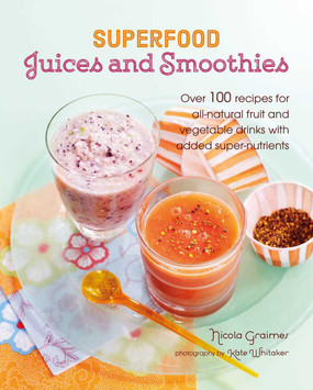 "Over 100 recipes for all-natural fruit and vegetable drinks with added super-nutrients By Nicola Graimes  A collection of over 100 powerhouse recipes for fresh juices and smoothies, blended from fruit and vegetables and packed with added super-nutrients. Whether you're looking for a punchy pick-me-up, an effective detoxifier, or an anti-aging rejuvenator, Superfood Juices & Smoothiesshows how to make flavor-packed drinks with unbeatable therapeutic properties. Along with the nutrients gleaned from ""superfood"" fresh fruit and vegetables, these great-tasting glassfuls contain the added benefit of active super-nutrients such as spirulina, wheatgrass, maca, baobab, açaí berries, chia seeds, and raw cacao among others. The first chapter, Detoxifiers, includes delicious recipes such as the Minty Fresh, designed to flush out the digestive system and encourage the elimination of toxins, and the Clear Mind packed with blueberries to boost concentration and memory. Energy-Enhancers features uplifting drinks such as the Super Boost, Rocket Fuel, and Raspberry and Goji Restorer. If you're feeling under the weather, try a warm, spicy and restorative Cold Comfort from the collection of Pick-me-ups. Alongside over 100 recipes there are also tips for getting the most from your fresh produce. For those who want to start from scratch, there are also recipes for making your own yogurt and dairy-free nut milks, as well as sprouting seeds and beans at home so you can be confident that your drink is 100% home-produced as well as tasting delicious!   144 pages  Format: Paper over board"