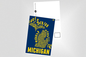 "4x6 postcard of the popular ""Michigan County Map"" print in Maize and Blue .. GO BLUE!   UV Coated for a sleek glossy finish.  The back is the standard postcard-like design with just enough room for a note to your friends and loved ones!"