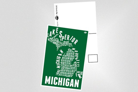 """4x6 postcard of the popular """"Michigan County Map"""" print in MSU Green and White.  GO SPARTANS!   UV Coated for a sleek glossy finish.   The back is the standard postcard-like design with just enough room for a note to your friends and loved ones!"""