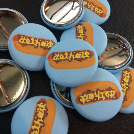 "High quality 1"" pin back button of the popular Detroit Coney Dog design. All-new matte finish pins with that vintage look and feel!   Accessorize your jacket, record bag, backpack... Etc etc !"