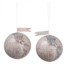 Bring joy to your holiday home decor with this peace on earth globe ornament. As precious as the message it conveys.  Size: 4 1/4""