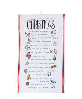 This charming tea towel will transform your kitchen this holiday season with reminders of why you love Christmas so much. Spread the cheer!  Size: 28 x 18