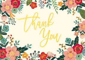Let this gorgeous thank you card convey your personal message of gratitude! Premium boxed stationery set comes with 14 cards and 15 matching envelopes. Quality card stock takes pen beautifully. Card interiors are blank for your personal words of thanks. ''Thank You'' is embossed in gold foil script and surrounded by a foil-accented floral border in peach, vermilion, teal, and green, with a matte ivory background. Unique linen finish adds tactile appeal. Stationery set comes with matching coral-hued envelopes. Cards measure 5'' wide x 3-1/2'' high.