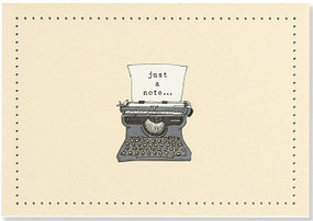 These retro note cards are perfect for your personal correspondence. Premium boxed stationery set comes with 14 cards and 15 matching envelopes. Quality card stock takes pen beautifully. Card interiors are blank for your personal messages. Cards measure 5 inches wide by 3-1/2 inches high. Design features stylized typewriter and the words ''Just a note...'' in black against an ivory background. Glossy highlights catch the eye. Exterior linen finish on the surface of the card adds tactile interest. Coordinating ivory envelopes feature matching border pattern on flaps. Stationery set comes in a coordinating box with a clear acetate lid, decorated in an embossed alphabet design with glossy highlights. Makes a welcome gift, too.